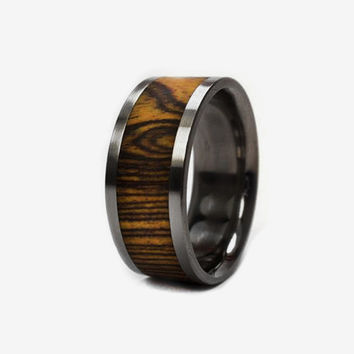 Mens Wood Wedding Band Titanium Wood Ring, Ring Armor Waterproofing Included, Alternative Wedding Band