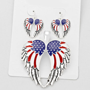 Red, White & Blue Patriotic Spirit American Flag Wings Pendant and Earring Set