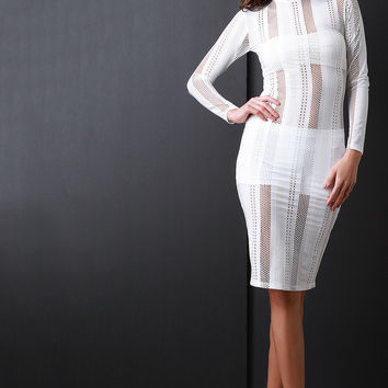 Vertical Semi Sheer Striped Mesh Bodycon Dress