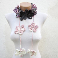 Hand crochet Lariat Scarf Lilac Purple Grey  White Flower Lariat Scarf Colorful Variegated Long Necklace Winter Fashion