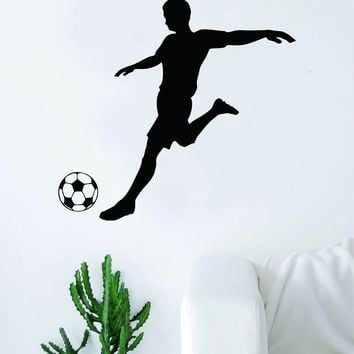 Soccer Player Wall Decal Sticker Art Vinyl Home Decor Living Room Bedroom Sports Futbol Fifa Ball Kick Goalie