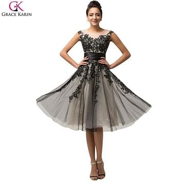Short Prom Dress Grace Karin Satin Tulle Bead Sequin Cap Sleeve Sheer Formal Gowns Mother Of The Bridal Wedding Party Dress Prom