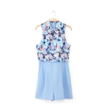 Summer Women's Fashion Floral Mosaic Sleeveless Slim Shorts Jumpsuit [4918010244]