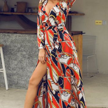 In The Present Black White Red Chain Geometric Pattern Long Sleeve V Neck Casual A Line Maxi Dress