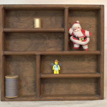 Rustic Wood Hanging Wall Shelf, Wall Mounted Wooden Cubby Box, Nic Nac Storage