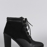 Women's Qupid Pointy Toe Lace Up Heeled Combat Ankle Boots