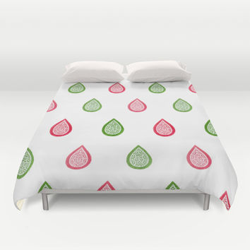 Pink and green raindrops Duvet Cover by Savousepate