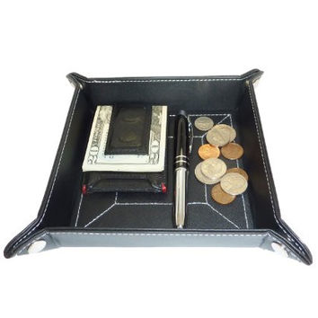 Black Leather Mens Jewelry Catchall Key Wallet Coin Box Tray Valet Change Caddy