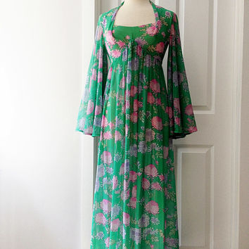 Vintage 70s Robert David Morton maxi dress/ butterfly sleeves/ kelly green flower print/semi sheer floral long dress/ pink purple mums
