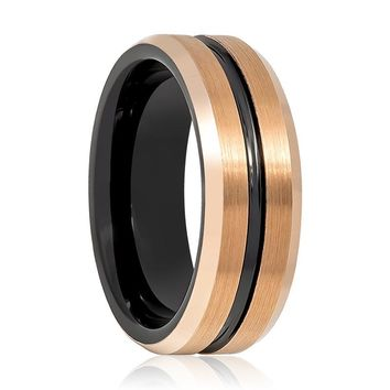 Aydins Rose Gold & Black Grooved Tungsten Wedding Ring for Men 8mm Beveled Edge Tungsten Carbide Wedding Band