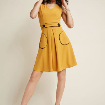 Obsessed With Retro A-Line Dress in Marigold