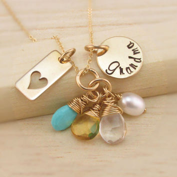 Hand Stamped Grandma Necklace, Personalized 14K Gold Filled Jewelry, Family Necklace, Semi Precious Birthstones, Nana, Mimi, Gigi, Oma, Mom