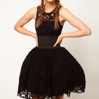 WIDE BELT DECORATED BLACK LACE TUTU VEST DRESS