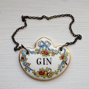 Vintage Coalport Gin Decanter Tag Bone China England Liquor Bottle Label Tag