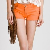 Orange Shorts - Bright Orange Five Pocket Cut-Off | UsTrendy