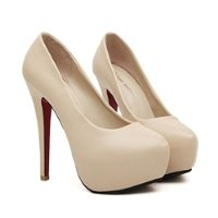 MagicPieces Women's PU High Heels with Bowtie Detail 040753 ADP 0705 Color Apricot US 5