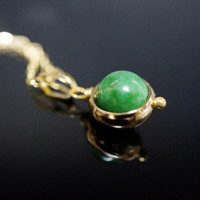 Gold Filled Tiny Jade Necklace - May Birthstone - Delicate Green Emerald Jade Jewelry - Tiny Jade Choker -  Single  Bead Necklace