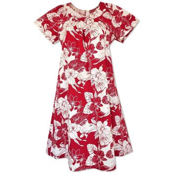 Orchid Blast Red Cotton Hawaiian Muumuu Dress
