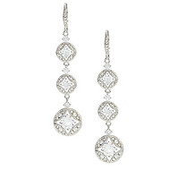 Nadri CZ Drop Lever Back Earrings - Rhodium