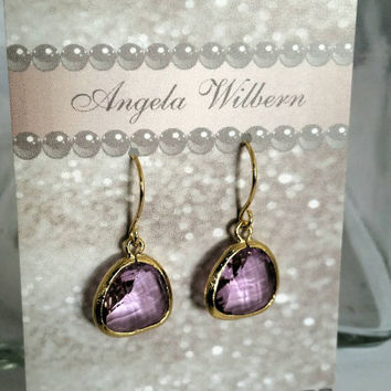 Lavender teardrop earrings, lavender pink earrings, purple earrings, pink teardrop earrings, lavender ear drops, prom earring, bridal jewels
