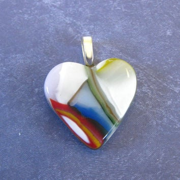 Colorful Heart, Love Jewelry, Wife Jewelry, Fused Glass Jewelry, Unique Heart  - Angel Eyes - 4128 -3