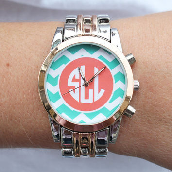 Monogrammed Silver and Rose Gold Watch Boyfriend by shopmemento