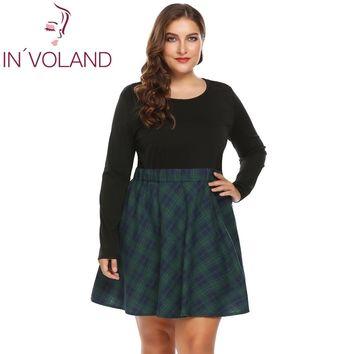 IN'VOLAND Women Vintage Dress Plus Size XL-5XL Long Sleeve Plaid Patchwork Large Fit and Flare Slim Swing Dresses Robe Oversized