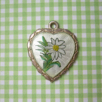 Edelweiss Heart Charm Pendant-Vintage Antique Guilloche Sterling Silver-Hand Painted Enamel-Bavarian Swiss Alps Flower-Collectible Jewelry