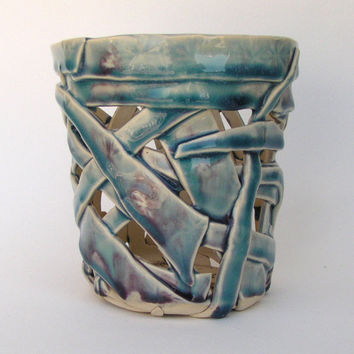 Blue Orchid Pot, Lattice Cachepot, Teal Ceramic Luminary