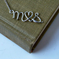 Sterling Silver Custom Lovers Initial I Heart You Necklace Personalized gift Personalized Bridesmaid Gifts Girlfriend gifts