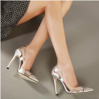 Fashion Transparent Gum Stitching Multicolor Shallow Mouth Pointed Head Shoes Women Heels Shoes
