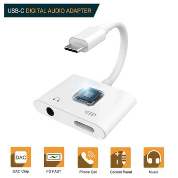 2 in 1 USB Type-C to 3.5mm Headphone Digital Audio Adapter PD Fast Charge