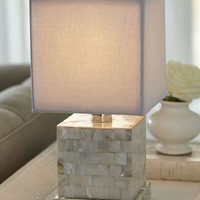 Mother-of-Pearl Mini Cube Lamp - Horchow