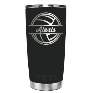 YETI 20 oz Personalized VolleyBall Laser Engrave on Black Matte Tumbler