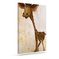 "Rachel Kokko ""Georgey The Giraffe"" Brown Tan Canvas Art"