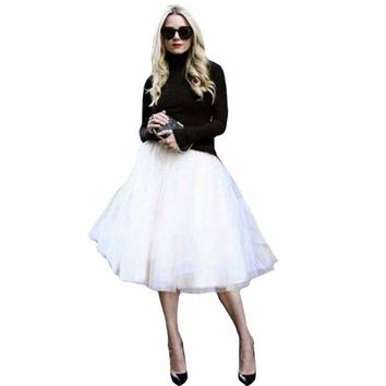 DK7G2 New Puff Women Chiffon Tulle Skirt White faldas High waist Midi Knee Length Chiffon plus size Grunge Jupe Female Tutu Skirts