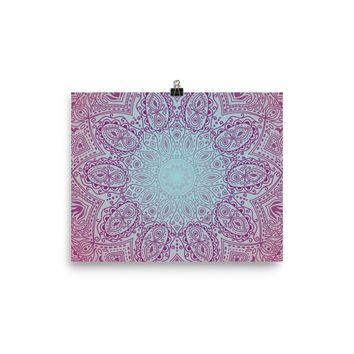 Reiki Charged Pink Lotus Mandala Poster Meditation Yoga Grunge Hippie