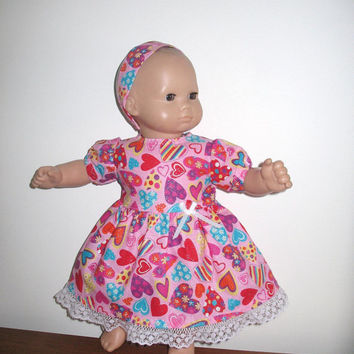 Doll Clothes for Bitty Baby or Bitty Twin Baby Doll, Light Pink Lots of Colorful Hearts Valentine's Day Dress