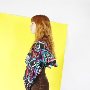 80s SOUTHWESTERN abstract graphic print neon shirt flap back colorful top button down black S M L