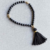 Profound Aesthetic Black Onyx Bead Tassel Bracelet- Black One