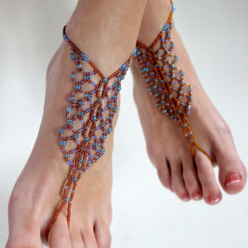 Barefoot Sandals Earthy Blue and Beige Shoelss Footlesl Beaded Anklet