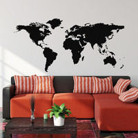 World Map Wall Decal Vinyl Sticker Travel Geographical Vinyl Design Geography Gift Living Room Office Bedroom Home Decor Wall Art 0036