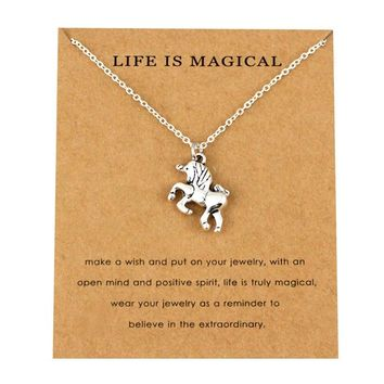 Unicorn Silver Pendants Necklaces Life is Magical Women Men Unisex Trendy Jewelry Lover's Best Friends Party Gift  Drop Shipping
