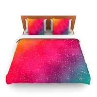 "Fotios Pavlopoulos ""Colorful Constellation"" Pink Glam Fleece Duvet Cover"