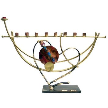 Lunar Heart Wedding Glass Keepsake Menorah By Gary Rosenthal In Blue,brown,multi-Colored,silver,gold Size: 14 W X 9 H