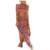 Summer Womens Boho Colorful  Long , Maxi Print (2 Piece) Dress