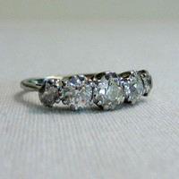 Late Victorian Diamond Ring. Five Stone Wedding Band, Engagement Ring.