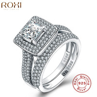 ROXI 925 Sterling Silver Jewelry Ring Fashion Wedding Engagement Ring Sets For Women Zircon Romantic Jewelry Christmas Gift
