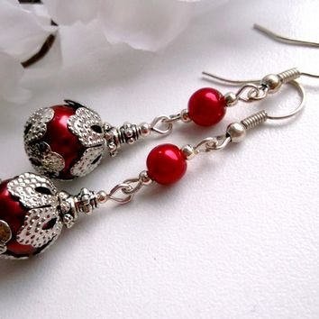 Red glass dangle earrings, red and silver earrings, holiday style.