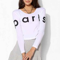 Truly Madly Deeply Paris Cropped Tee- White L